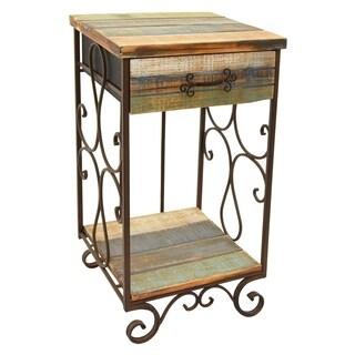 Three Hands Brown Wood/Metal Distressed 1-drawer Side Table