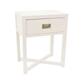 Three Hands White Wood Side Table