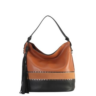 Diophy PU Leather Two Tone Large Hobo with Tassel Decoration