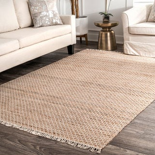 nuLOOM Natural Jute/Cotton Casual Handmade Flatweave Natural-fiber Diamond Trellis Tassel Area Rug