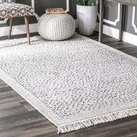 nuLoom Casual Handmade Textured Stubbles Ivory Cotton/Fabric Indoor Rectangular Tassel Rug (5' x 8') - 5' x 8'