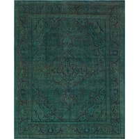 Vintage Distressed Overdyed Gale Teal Green/Blue Rug (9'9 x 12'4)