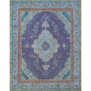 "Noori Rug Vintage Distressed Overdyed Alvin Purple/Blue Rug - 9'6"" x 12'3"""