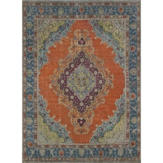 Noori Rug Vintage Distressed Overdyed Beldan Orange Blue 9 4 X