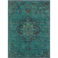 Vintage Distressed Overdyed Apryl Teal Green/Red Rug (7'7 x 10'2)