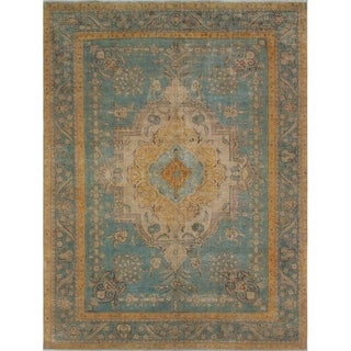 Vintage Distressed Overdyed Nykko Blue/Gold Rug (8'2 x 10'11)