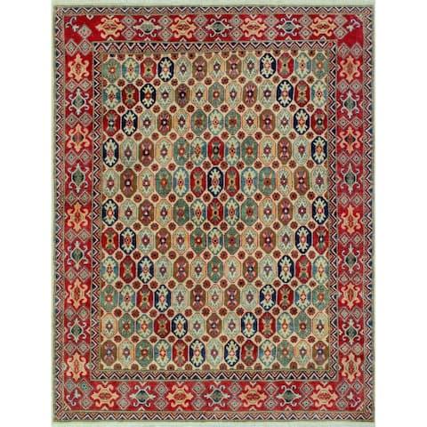 Kazak Alura Ivory/Red Rug (5'0 x 6'7)