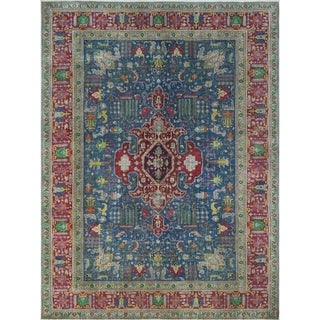 "Noori Rug Vintage Distressed Overdyed Andie Blue/Red Rug - 9'10"" x 13'7"""