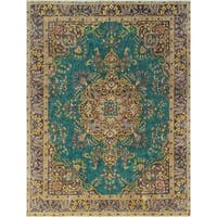 "Noori Rug Vintage Distressed Overdyed Irvette Teal Green/Purple Rug - 9'6"" x 12'7"""