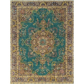 Vintage Distressed Overdyed Irvette Teal Green/Purple Rug (9'6 x 12'7)