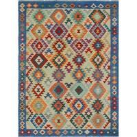 Sangat Kilim Allred Beige/Blue Rug (5'7 x 7'9)