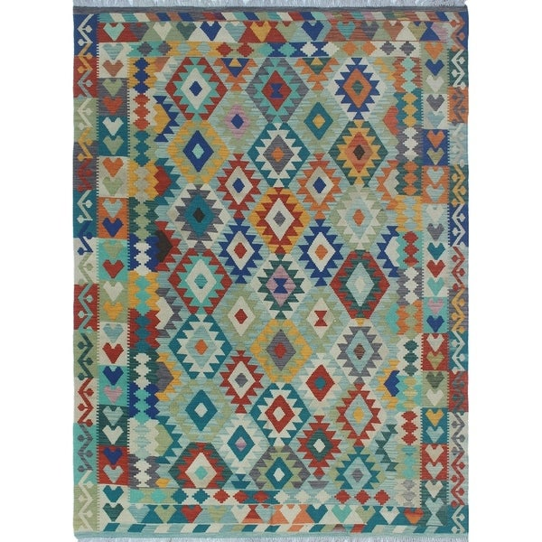 Shop Sangat Kilim Northcliffe Lt. Blue/Red Rug (6'11 X 9'9