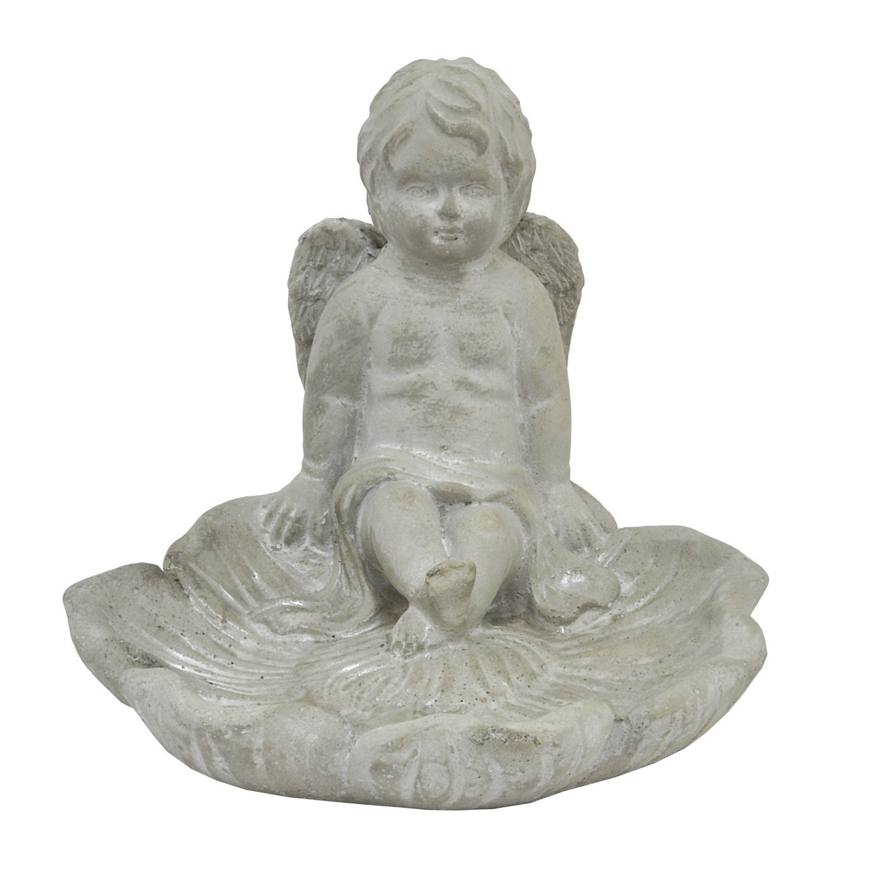 Three Hands Angel Bird Feeder, Grey (Ceramic)
