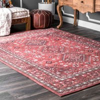 """nuLoom Traditional Vibrant Diamond Medallion Fancy Red/Grey/Off-white Cotton Indoor Rectangular Rug (7'6 x 9'6) - 7'6"""" x 9'6"""""""