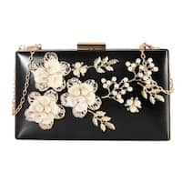 Rimen & Co. Front Solid Floral Clutch with Chain Strap