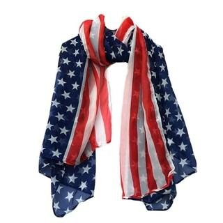 American Flag Scarf Rectangular Red White Blue Scarf