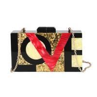 Diophy Perspex Goldleaf Marble Pattern Love Me Box Clutch