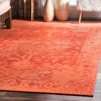 nuLoom Orange Medallion Overdyed Faded Vintage-inspired Rug (8' x 10')