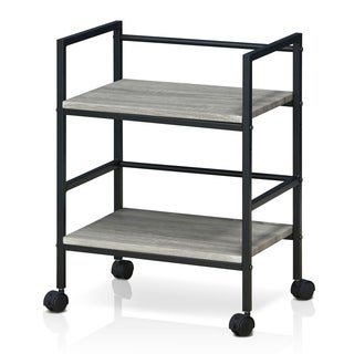 Furinno Modern Storage Cart with Casters, Dark Oak