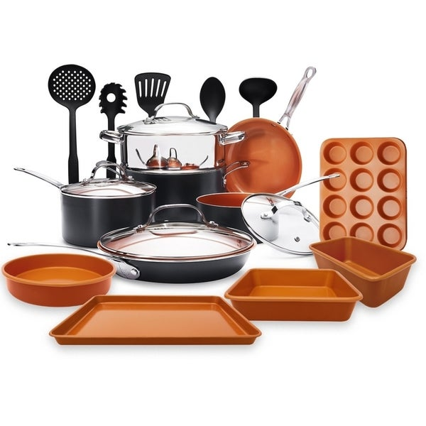Gotham Steel 20 Piece Cookware, Bakeware and Utensil Set Non-stick Copper