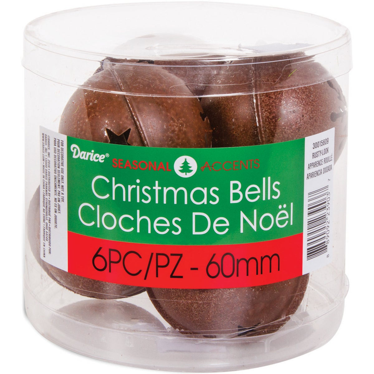 "DARICE Jingle Bells W/Cutouts 2.3"" 6/Pkg (Rusty), Multi (..."