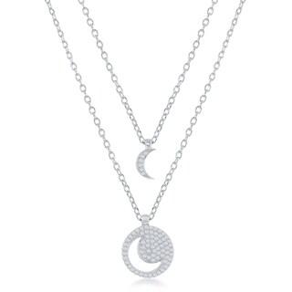 La Preciosa Sterling Silver Moon/Lock & Key/Heart/Star CZ Cut-Out Double Strand 16+2'' Necklace