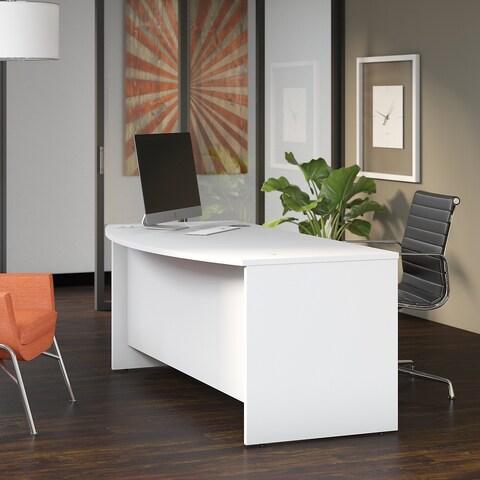 Bush Business Furniture Studio C 72W x 36D Bow Front Desk in White