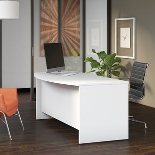 Bush Business Furniture Studio C 72W x 36D Bow Front Desk in White
