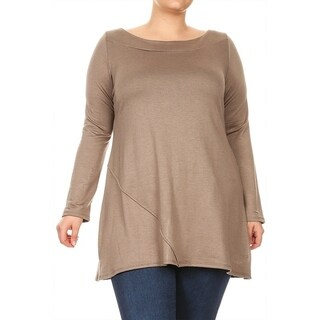 Women's Plus Size Solid Pleated Long Body Top