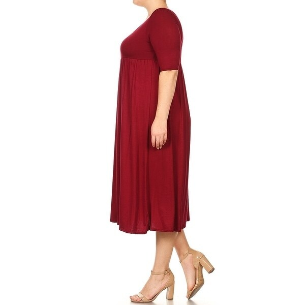 Women-039-s-Plus-Size-Solid-Baby-Doll-Dress thumbnail 9