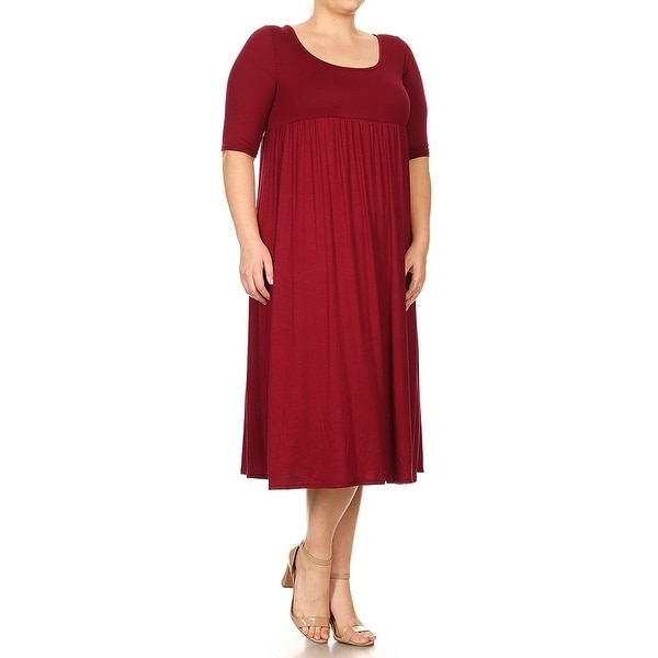 Women-039-s-Plus-Size-Solid-Baby-Doll-Dress thumbnail 10