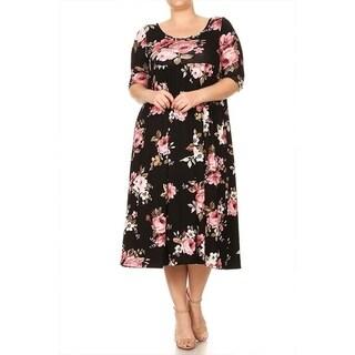 Women's Plus Size Floral Pattern Baby Doll Dress