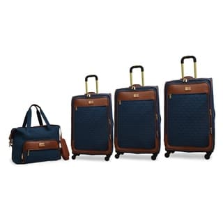Adrienne Vittadini 4-Piece Quilted Expandable Spinner Luggage Set- Teal|https://ak1.ostkcdn.com/images/products/18147209/P24297702.jpg?impolicy=medium