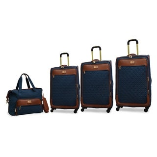 Adrienne Vittadini 4-Piece Quilted Expandable Spinner Luggage Set- Teal