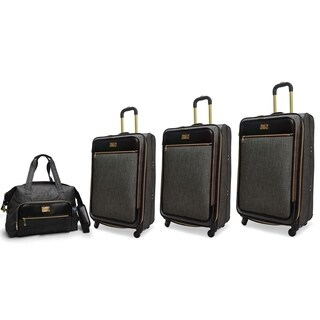 Adrienne Vittadini 4-Piece Nylon Expandable Spinner Luggage Set-Charcoal