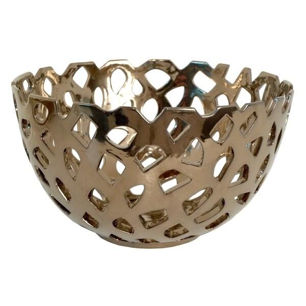 Shop Three Hands Pierced Bronze Ceramic Bowl With Glossy