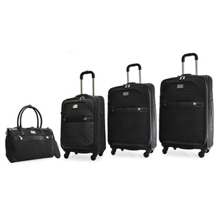 Adrienne Vittadini 4-Piece Quilted Expandable Spinner Luggage Set-Black