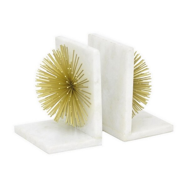 Shop Three Hands White Metal Marble Bookends Set Of 2