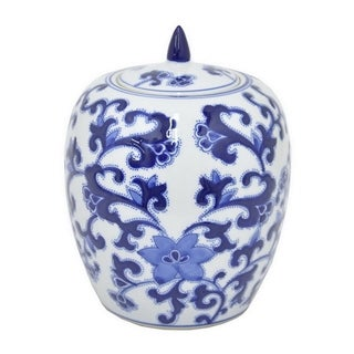 Three Hands Blue And White Ceramic Jar
