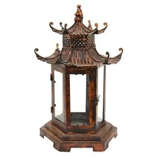 Three Hands Brown Metal Pagoda Lantern