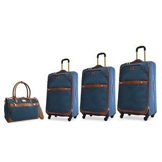 Adrienne Vittadini 4-Piece Quilted Expandable Spinner Luggage Set-Teal