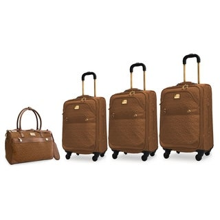 Adrienne Vittadini 4-Piece Quilted Expandable Spinner Luggage Set-Toffee