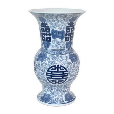 Three Hands Blue And White Ceramic Vase