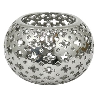 Three Hands Pierced Silver Ceramic Bowl With Glossy Finish