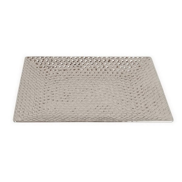 Three Hands Silver Hammered Plated Ceramic Tray