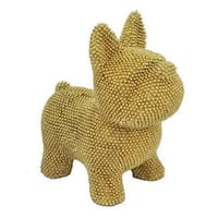 Three Hands Decorative Metallic Gold Resin Dog Bank