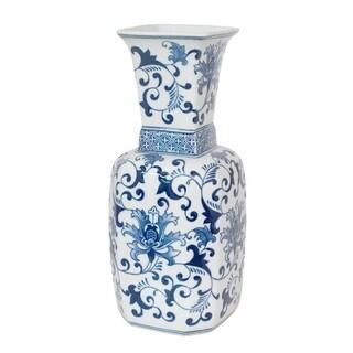 Three Hands Blue/White Ceramic Vase