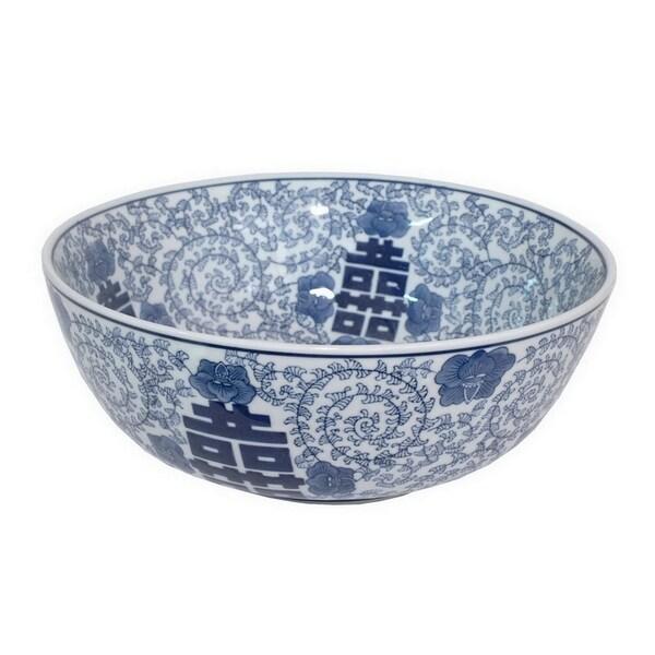 Three Hands Blue And White Ceramic Bowl