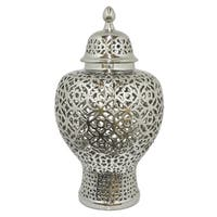 Three Hands Silver-tone Ceramic Small Pierced Temple Jar