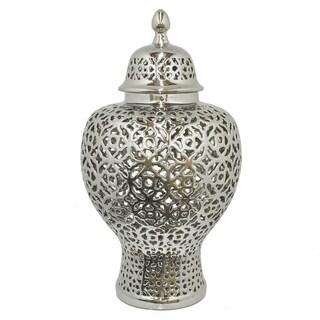 Three Hands Ceramic Pierced Temple Jar - S